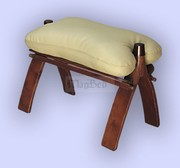 New handmade leather/wooden CAMEL footstool/stool